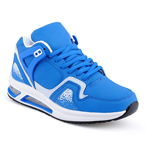 Herren Damen Sportschuhe High Top Sneaker Mehrfarbig Basketball Freizeit Unisex Schuhe Blau/Weiss-W