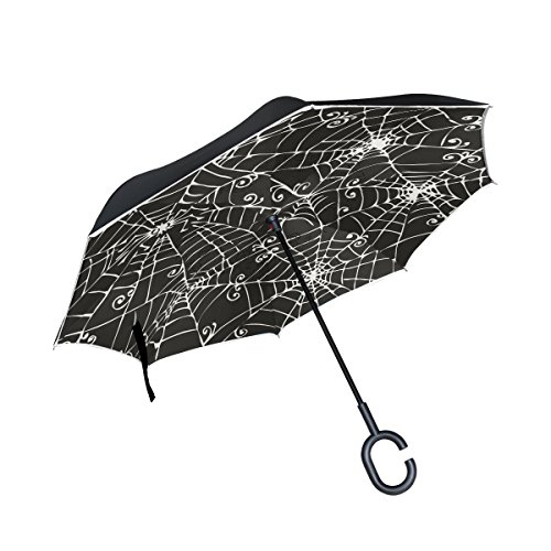 XiangHeFu Double Layer seitenverkehrt Rückseite Regenschirme Spooky Spider Web Hintergrund Schwarz Weiß Zusammenklappbar Winddicht UV-Schutz Big Gerade für Auto mit C-Förmigem Henkel (Zusammenklappbar Weißen Hintergrund)