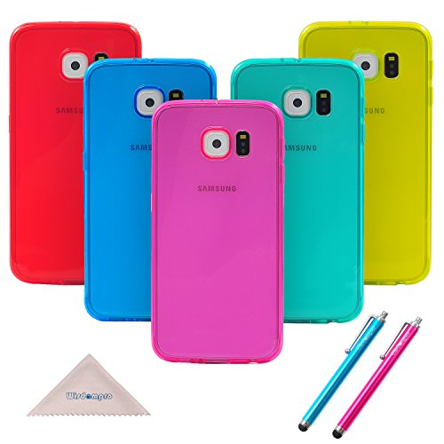 S6, étui, wisdompro?? Lot de 5 ensemble de housses Jelly Couleur Étui de protection en gel TPU souple transparent (Bleu, Aqua Bleu, Rose Vif, jaune, rouge) pour Samsung Galaxy S6