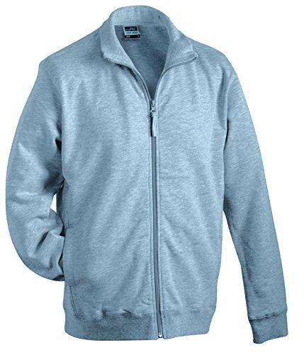James & Nicholson Herren Sweat Jacket Sweatshirt Grau (Grey-Heather)