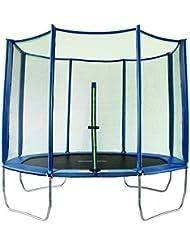 SixBros. SixJump 2,95 M Trampolín Cama elástica de jardín polígono Trampolín azul - Red de seguridad - PB295/2050