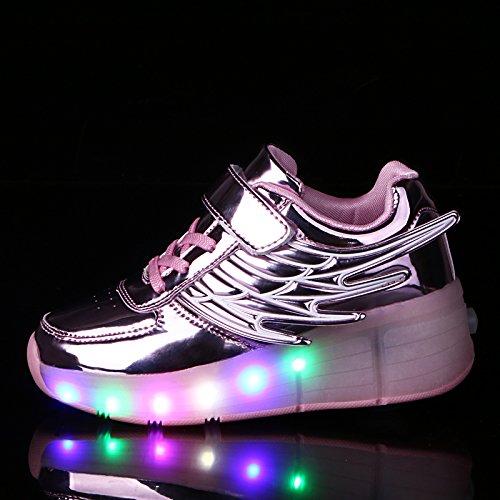 KE Enfants Wing Led Simple Round Mirror Ultraléger roller skates Chaussures Entraîneur Nuit Sport pink