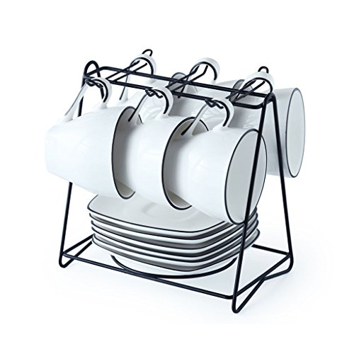 YILIAN kafeiyongpin Keramische Kaffeetasse Set Kombination 4-6 Stück mit Geschirr Löffel kreativ einfach eingestellt (Design : B, UnitCount : 6)