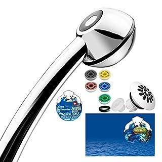 Duschkopf FEARLESS Black Power mit kräftigem Strahl und Softspray-Aufsatz, mit 6 Wasserspar-Düsen für 7 Durchflussmengen: von 3-11 Liter statt 15-25 l/min (einstellen vor oder nach dem Duschen). Kalkfrei