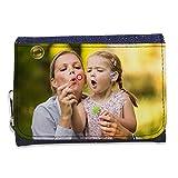 Lolapix - Cartera Tejana Personalizada con tu Foto, diseño o Texto, Original y Exclusivo. Tejido Tejano Azul