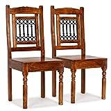 Festnight Esszimmerstühle 2 STK. Essstuhl Set Küchenstuhl aus Massives Akazienholz mit Sheesham-Finish Klassisch Stühle 43 x 43 x 100 cm