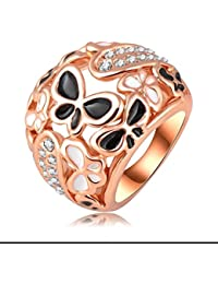 Yiwu Crystal BLACK,WHITE 18K ROSE GOLD METAL RING Fashion Jewellery For WOMEN