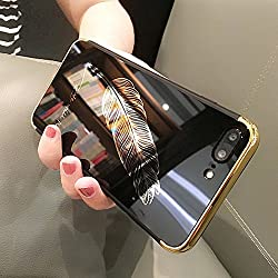 Miroir Coque pour iPhone 6/6S,ETSUE iPhone 6 /6S Effet or Miroir Housse Etui Technologie de Galvanoplastie Pliable TPU Souple Bumper Case Slim Fit Clear View Mirror Paillette Plaqué Métal Coque,Plume