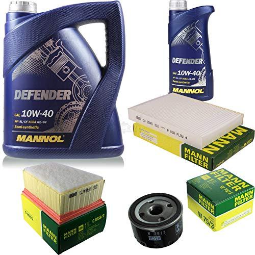 Filter Set Inspektionspaket 6 Liter MANNOL Motoröl Defender 10W-40 API SL/CF MANN-FILTER Luftfilter Innenraumfilter Ölfilter