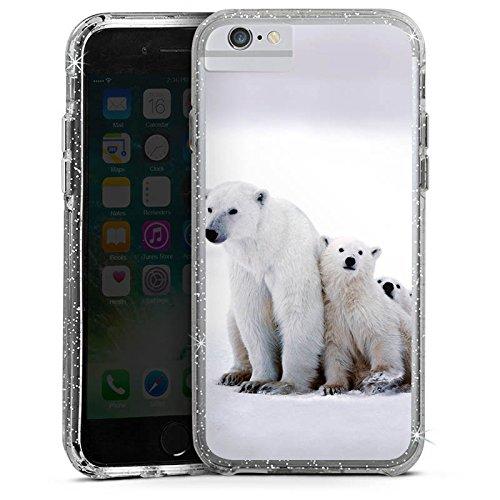 Apple iPhone 6 Bumper Hülle Bumper Case Glitzer Hülle Bear Baer Babybaer Bumper Case Glitzer silber