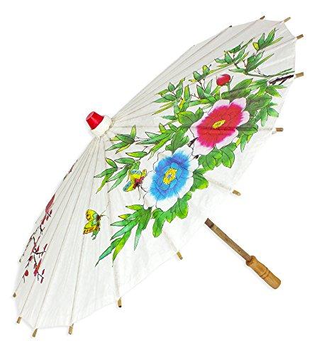 Chinesischer Sonnenschirm aus Papier - Zauberhaftes Zubehör zu Ihrem Kostüm als Chinesin Geisha oder Japanerin (China Kostüm Schmuck)