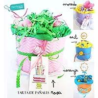 """Torta di Pannolini DODOT   Modello """"Rose e Fiori""""   Diaper Cake   Baby Shower Gift Idea   PERSONALIZZAZIONI DISPONIBILI: Nome del Bebé, Biglietto d'Auguri, Taglia Pannolini e Colore della Torta!"""