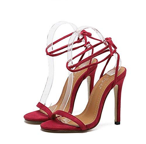 GS~LY Semplice benda con tacco alto sandali Red