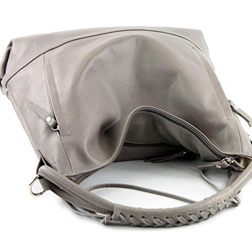 modamoda de - ital. Ledertasche Damentasche Handtasche Schultertasche Nappaleder W35 Platingrau