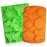 2pz insetto silicone vassoi, Senhai 6-cavity 3D libellula farfalla coccinella torta cottura stampi, fai da te sapone Handmade muffin biscotto padelle–arancione, verde