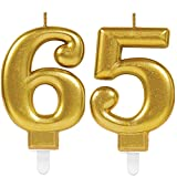 Carpeta 2X Zahlenkerzen * Zahl 65 * in Gold | 11cm x 9cm groß | Deko Goldene Hochzeit Jubiläum Geburtstagskerze Kerze Geburtstag