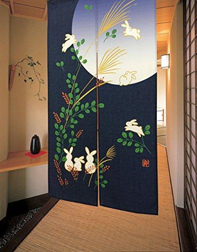 """LIGICKY Cortina de Puerta Japonesa Noren Lindo Conejo bajo la Luna Decoración 33 x 59 Pulgadas, poliéster y Mezcla de poliéster, Azul, 33""""x59"""""""