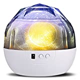 Projector Night Lamp, SlowTon 2017 New Version Happy Birthday Star Moon Cosmos Cupid LED Charging Rotating Projection Lamp with Different Colors Decorative Sleeping Romantic Mood Starry Dreamer Night Light for Children Baby Kids Boy Girl in Nursery Room Playroom Bathroom Bedroom Living Room