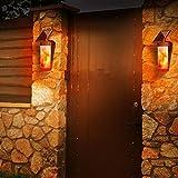 Flamme Lampe Außenleuchte Wasserdicht IP65 LED Solarlampe Wandleuchte Path Licht Tanzen Flamme Licht Sensor für Garten, Parties, Haus, Treppen, Zaun, Außenwand, 2
