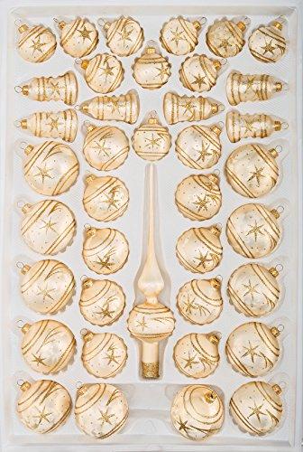 """39 tlg. Glas-Weihnachtskugeln Set in \""""Ice Champagner Gold\"""" Komet- Christbaumkugeln - Weihnachtsschmuck-Christbaumschmuck"""
