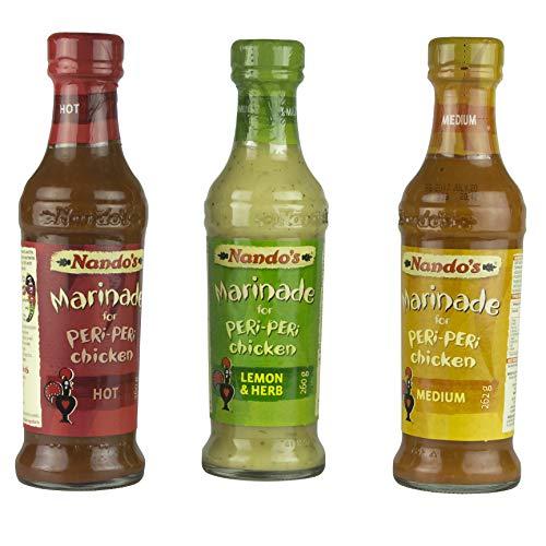 Nando's Marinade Triple Pack, Peri Peri Chicken, Medium, Hot And Lemon & Herb