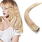 Extensiones cinta adhesiva de pelo natural - Tape in Human Remy Hair Extensions - 40cm 50g #613 Blanqueador Rubio