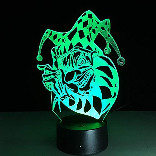 Halloween Clown 3D Led Nachtlicht, Usb-Fernbedienung Bunte Note Schlafzimmer Kind Nachttischlampe, Acryl Tragbare Dekoration Kindertagesgeschenk