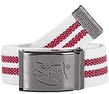 2Stoned Stoffgürtel Weiß-Rot 4 cm Breit mit Matter Schnalle 120 cm Lang, Koppelgürtel für Damen und Herren