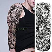 tzxdbh 3Pcs-Waterproof Tattoo Sticker 骷髅 Rose Cross Prayer Full Arm Large Size Tattoo Tattoo Sleeve Men and Women Girls 3Pcs-