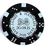 51KIBnXUPQL. SL160  - NO.1 BETTING Personalised Save the Date Fridge Magnets Wedding Casino Themed Poker Chips Tokens (Pack of 10) Coloured Acrylic - LittleShopOfWishes (Black)