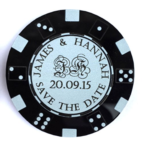 51KIBnXUPQL - NO.1 BETTING Personalised Save the Date Fridge Magnets Wedding Casino Themed Poker Chips Tokens (Pack of 10) Coloured Acrylic - LittleShopOfWishes (Black)