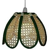 Lighting Web Company - Pantalla de mimbre para lámparas, diseño de tulipán, color verde y crema