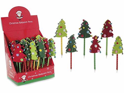 Ideapiu 24 Penna Albero di Natale in panno Con campanelle in espositore