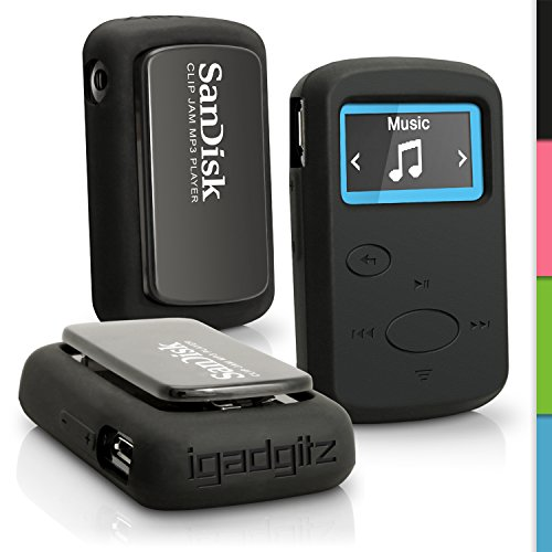 igadgitz Schwarz Gummi Silikon Gel Schutzhülle Tasche für Sandisk Sansa Clip Jam MP3 Palyer SDMX26-008G (2015) Etui Case Cover (Mp3-player Armband Sansa)