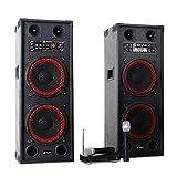 Karaoke-Anlage STAR-Schöneberg PA Boxen + Funk Mikrofon Set (1200W Leitung, MP3-Wiedergabe von USB & SD, bis 100 Meter Miro-Reichweite) rot-schwarz