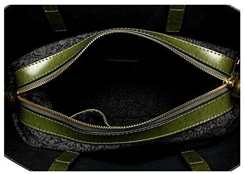 SAIERLONG Nuovo Donna Army Green Vera Pelle Borse Tracolle Grigio