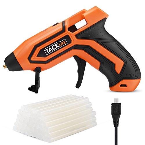 Klebepistole, Tacklife PGG01B DC kabellose Heißkleber Pistole Ausgestattet mit 3,6 V Lithium-Batterie, 45 Stück 7x100mm Klebestifte und doppelte Anzeigeleuchten