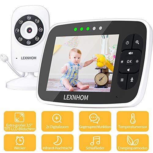 Luxhmox D-JKQ-YE-03 TFT LCD Babyfon mit Kamera, 2-Wege Audio 3.5 Zoll, schwarz (Black 03)