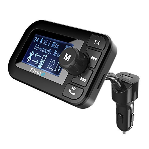 Firste FM Transmitter Bluetooth Freisprecheinrichtung Car Kit, wireless FM Radio Empfänger MP3Player Audio Adapter mit Dual USB Ladekabel 5V/2.1A Ausgang, USB-Stick/SD/TF Kartenleser Slot für Smartphones, Android, IPHONE SE/6S/7S Plus, iPhone 6/7Plus, iPad, iPod, HTC, etc.. schwarz HK105 (Dual Voltage Empfänger)