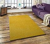 Keymura Shaggy Hochflor Teppich Top Qualität Langflor ca. 50 mm, Weich und trendig, Farbe Gelb, Größe: 160x230 cm