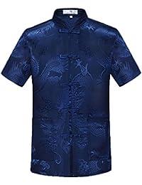 Airuiby Tuta Tang Uomini Abbigliamento Tradizionale Cinese Suits Hanfu  Cotone Camicia a Maniche Corte Cappotto Uomo f82716980bd