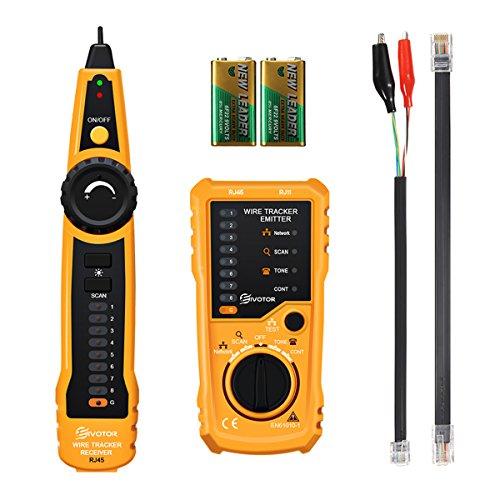 EIVOTOR Netzwerkkabel Tester RJ45 RJ11 Kabeltester Netzwerk Wire Tracker Kabelfinder Draht Verfolger Ethernet Kabelsucher Leitungssucher Durchgangsprüfung Leitungsdetektor mit Taschenlampe und Ohrhörer für Telefonkabel, LAN Tester