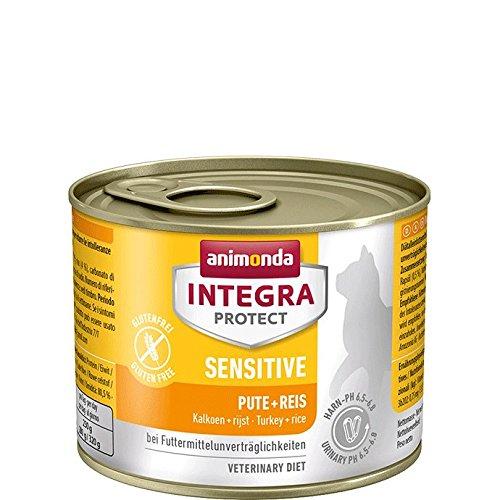 animonda Integra Protect Sensitive mit Pute und Reis | Diät Katzenfutter | Nassfutter bei Futtermittelallergie (6 x 200 g)