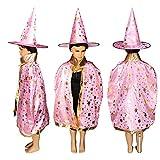 LJIE Halloween-Umhang, Kinderparty-Aufführungs-Kostüm, Umhang Der Zauberer-Hexe,Pink