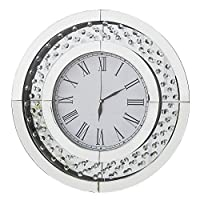 RICHTOP Wall Clock Modern Mirror Design With Crystal Nearly Silent Large Round Quartz 3D Wall Clocks Roman Numerals for Living room, Bedroom, Kitchen, Office Dia 50cm Silver