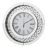 RICHTOP Wanduhr Modern Crystal Non-Ticking Stille Runde Quarzuhr Römische Nummer 20 Zoll Silber Home/Büro / Schule