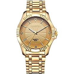 fq-005Design Golden Vergoldung Edelstahl mit Diamanten Herren Classic Handgelenk Uhren für Mann Gold