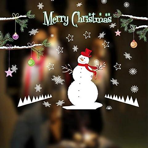 Tongshi Muebles desmontables vinilo ventana pared etiqueta engomada de la decoración de Navidad muñeco de nieve