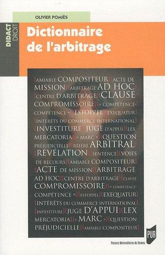 Dictionnaire de l'arbitrage par PUR PUR