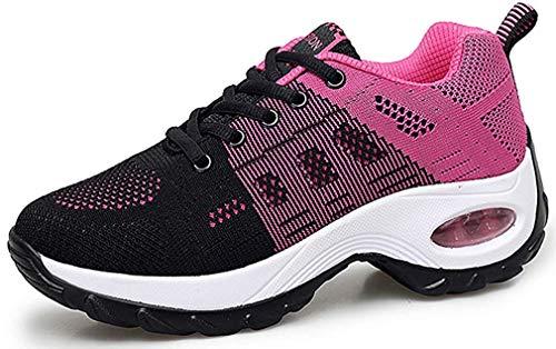 Sneakers Zeppa Donna Scarpe da Ginnastica Basse Corsa Sportive Fitness Running Mesh Air Scarpe Estive Primavera Casual All'Aperto Gym EU36.5/Etichetta 37